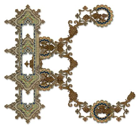 luxuriously: Luxuriously illustrated old capital letter K