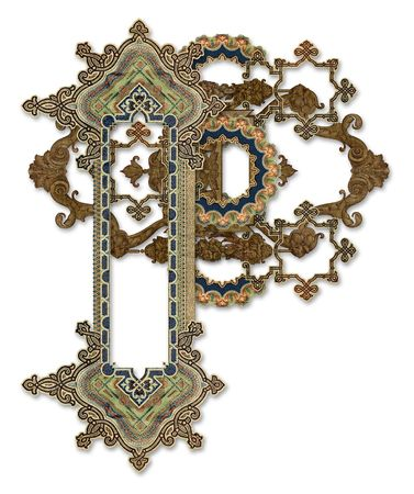 Luxuriously illustrated old capital letter P photo