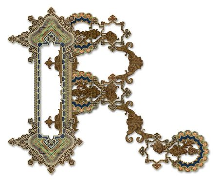 Luxuriously illustrated old capital letter R photo