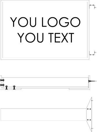 perpendicular: Technical drawing edge advertising signs.