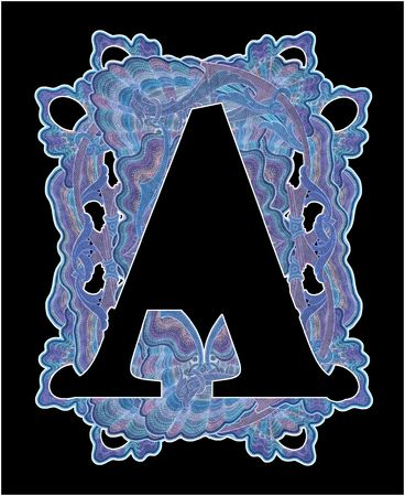 luxuriously: Luxuriously illustrated old capital letter A.