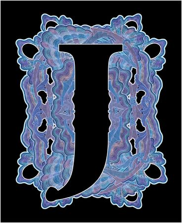 luxuriously: Luxuriously illustrated old capital letter J.