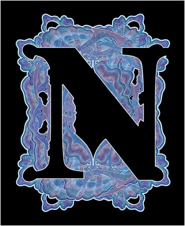 Luxuriously illustrated old capital letter N. Stock Photo