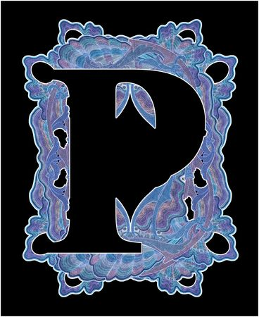 luxuriously: Luxuriously illustrated old capital letter P.