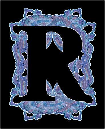 r image: Lussuosamente illustrato vecchia capitale lettera r.