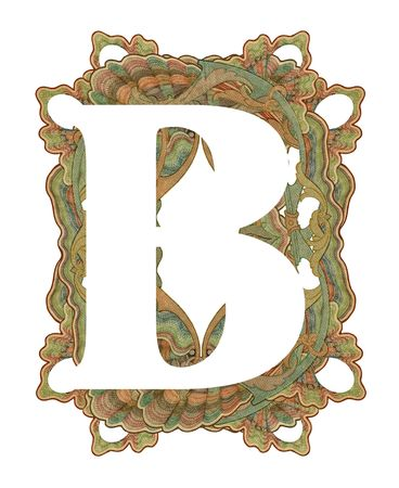 Luxuriously illustrated old capital letter B . photo