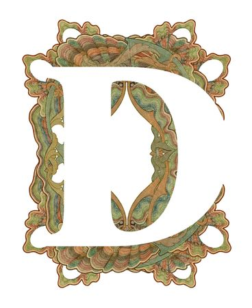 luxuriously: Luxuriously illustrated old capital letter D . Stock Photo