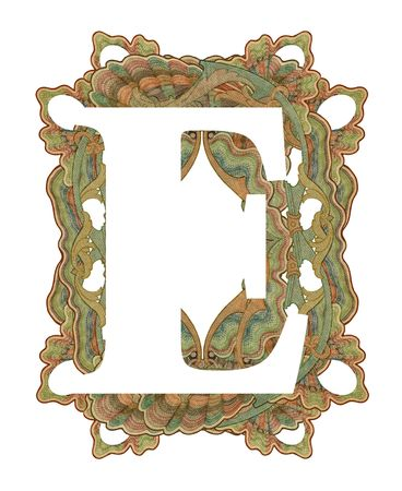Luxuriously illustrated old capital letter E .