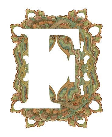 luxuriously: Luxuriously illustrated old capital letter F .