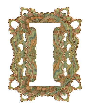 luxuriously: Luxuriously illustrated old capital letter I .