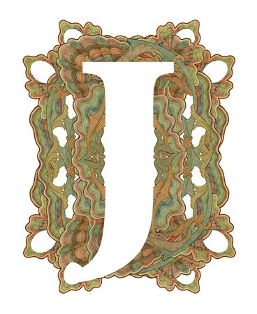 luxuriously: Luxuriously illustrated old capital letter J .