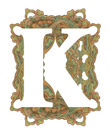 Luxuriously illustrated old capital letter K . photo