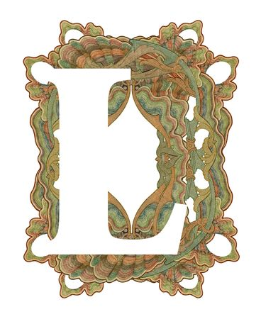 Luxuriously illustrated old capital letter L .