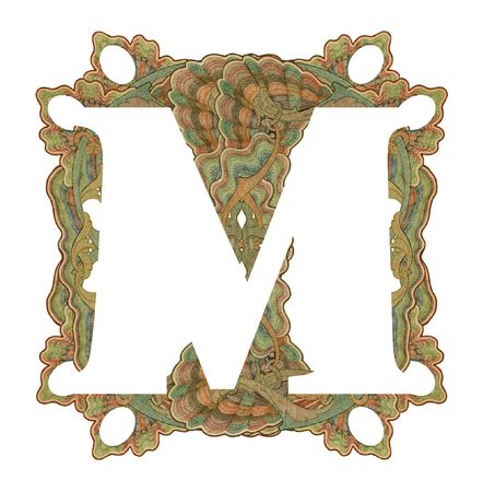 Luxuriously illustrated old capital letter M . photo