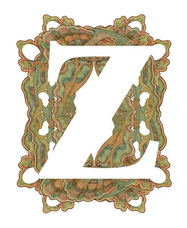 luxuriously: Luxuriously illustrated old capital letter Z .