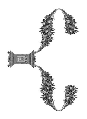 Luxuriously illustrated old capital letter C.