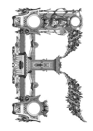 luxuriously: Luxuriously illustrated old capital letter R .