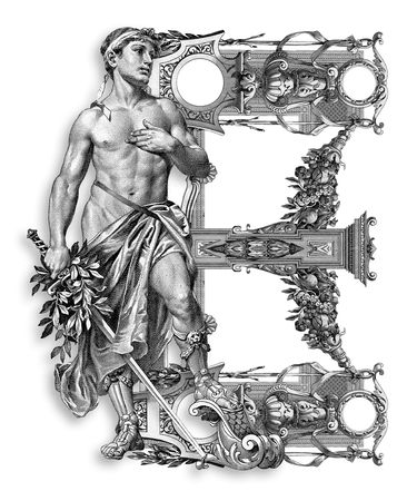 baroque ornament: Luxuriously illustrated old capital letter B with man. Stock Photo