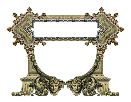 luxuriously: Luxuriously illustrated old colored victorian frame. Stock Photo