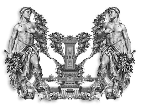 Luxuriously illustrated old capital letter U with man. photo