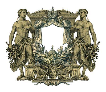 gronostaj: Luksusowo zilustrowane starych kolorowa ramka victorian i dwóch mężczyzna.