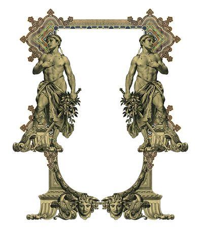 gronostaj: Luksusowo zilustrowane starych kolorowa ramka victorian i dwóch człowiek.