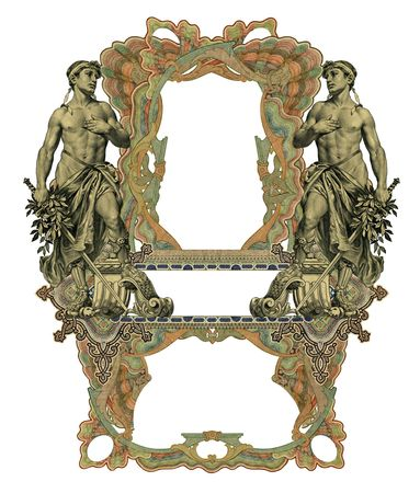 luxuriously: Luxuriously illustrated old colored victorian frame and two man.