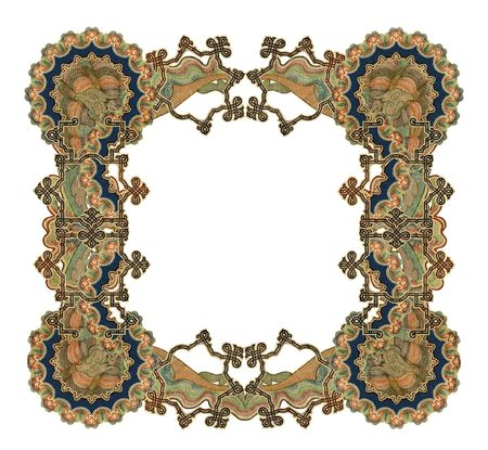 weaves: Luxuriously illustrated old colored victorian frame. Stock Photo