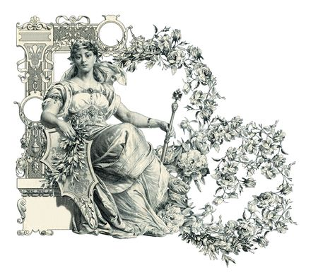 luxuriously: Luxuriously illustrated old capital letter B.