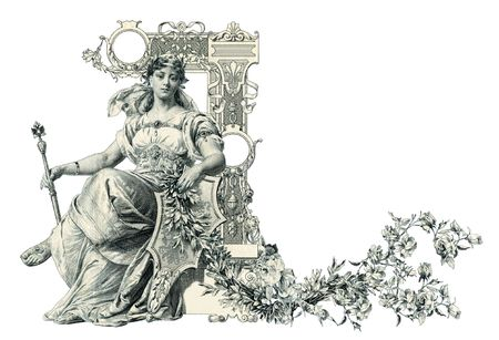 luxuriously: Luxuriously illustrated old capital letter L.