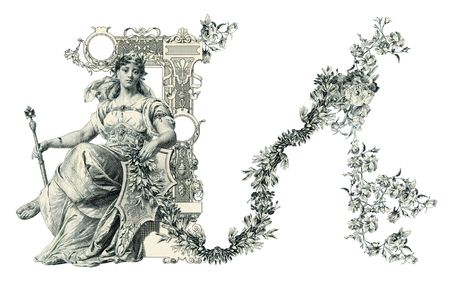 Luxuriously illustrated old capital letter N. photo