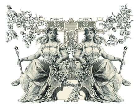 cetro: Carta de capital antigua lujosamente ilustrado T.