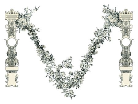 Luxuriously illustrated old capital letter M. photo