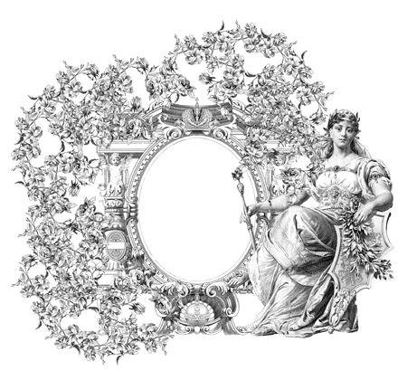 ovalo: Lujosamente ilustrado antiguo marco victoriana con la mujer. Foto de archivo