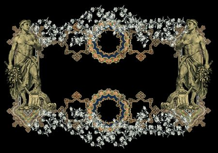 luxuriously: Luxuriously color illustrated old victorian frame with man on a black background.