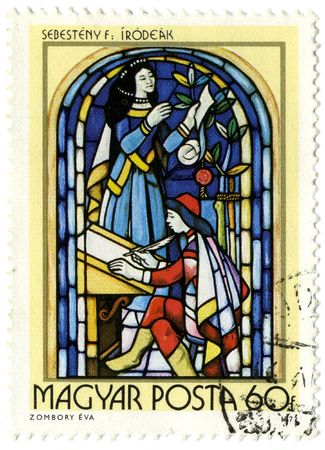 Hungary circa 1972. A stamp printed in Hungary shows image of the religious subjects made at the stained-glass window.