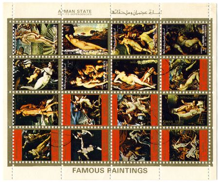 Ajman State circa 1973. A more stamp printed in Ajman shows image of the famous paintings. Banque d'images - 6890384