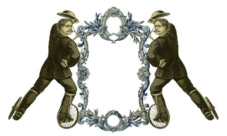 Luxuriously color illustrated old victorian frame with two man on roller skates. photo