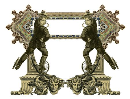 luxuriously: Luxuriously color illustrated old victorian frame with two man on roller skates.