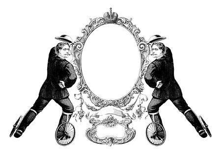 patines: Lujosamente ilustrado antiguo marco victoriana con dos hombre en patines.