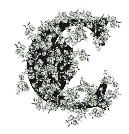 Luxuriously illustrated old capital letter C with flowers. photo