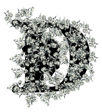Luxuriously illustrated old capital letter D with flowers.