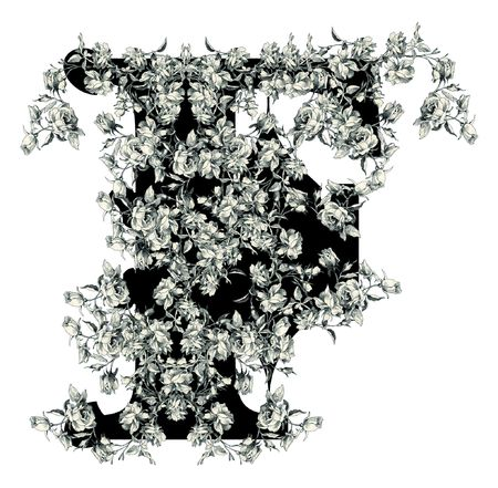 Luxuriously illustrated old capital letter F with flowers. photo