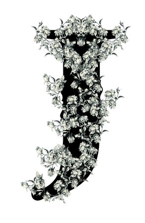 Luxuriously Illustrated Old Capital Letter J With Flowers Stock