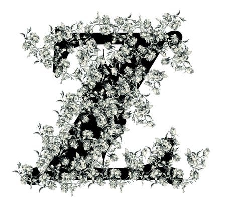 Luxuriously illustrated old capital letter Z with flowers. photo