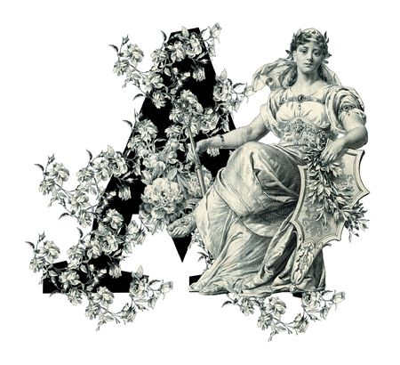 Luxuriously illustrated old capital letter A with flowers and Woman photo