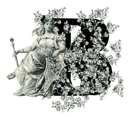 Luxuriously illustrated old capital letter B with flowers and Woman