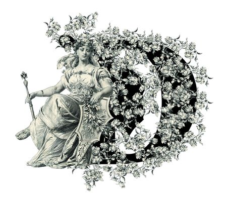 Luxuriously illustrated old capital letter D with flowers and Woman. photo