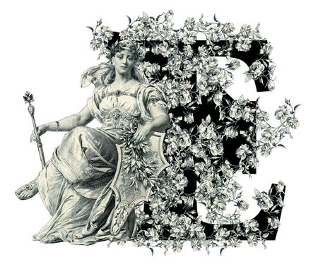 luxuriously: Luxuriously illustrated old capital letter E with flowers and Woman. Stock Photo