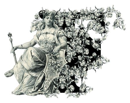 luxuriously: Luxuriously illustrated old capital letter F with flowers and Woman. Stock Photo